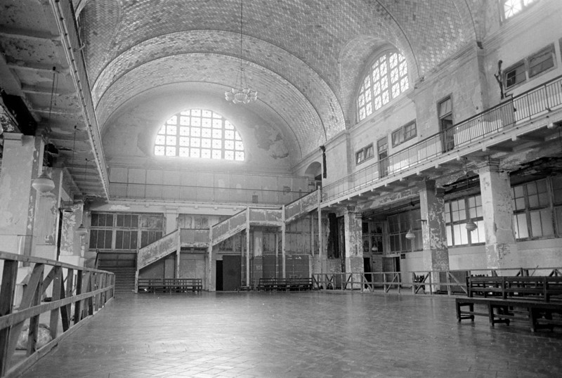 Ellis Island Registry Room in August 1984, just a few months before it closed for renovation