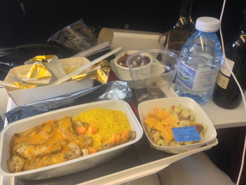 Gourmet Air France Dinner included fresh baguettes
