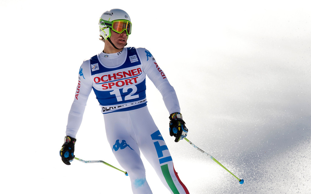 . Matteo Marsaglia of Italy crosses the finish line in first place in the FIS Alpine World Cup men\'s Super G on December 1, 2012 in Beaver Creek, Colorado.    DON EMMERT/AFP/Getty Images