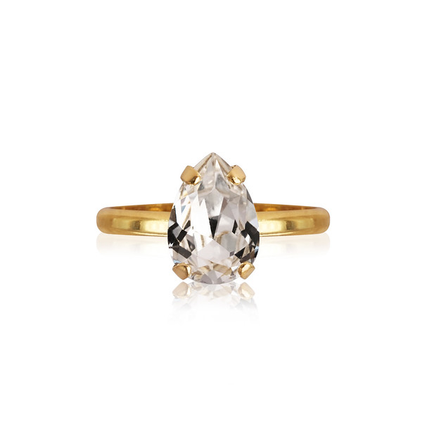Petite Drop Ring / Crystal Gold