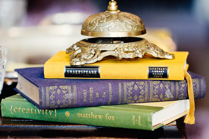 books as wedding decor