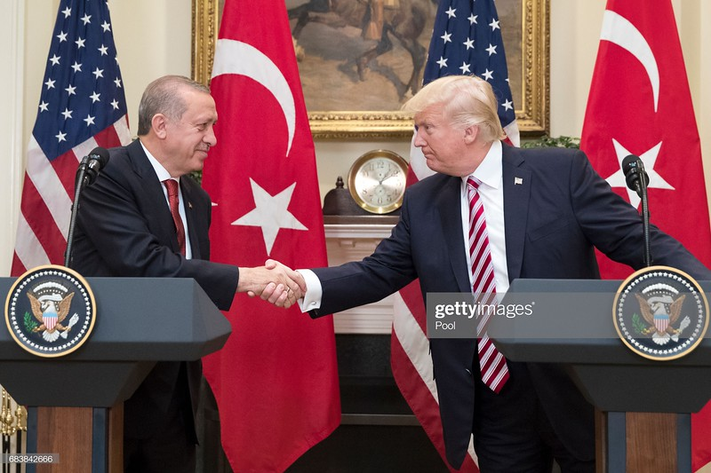 WASHINGTON, DC - MAY 16: US President Donald Trump (R) shakes hands with President of Turkey Recep Tayyip Erdogan (L) in the Roosevelt Room where they issued a joint statement, at the White House on May 16, 2017  in Washington, DC. Trump and Erdogan face the issue of working out cooperation in the fight against terrorism as Turkey objects to the US arming of Kurdish forces in Syria. (Photo by Michael Reynolds-Pool/Getty Images)