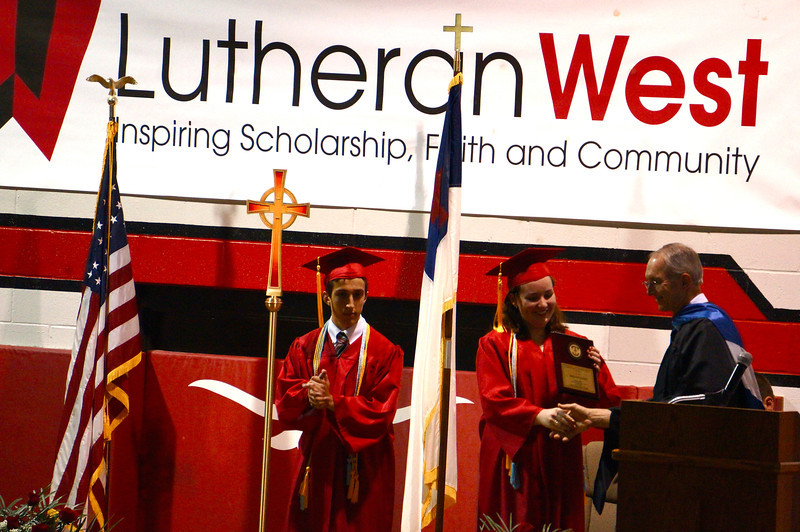 Lutheran West Graduation - Class of 2013  Christian Stewardship Award: Tim Coulter & Bridget Barry