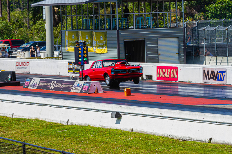 Charlie Cicino of Lauderhill launches his 1965 GTO down the drag track at the Super Chevy Show at Palm Beach International Raceway on Saturday, May 25, 2019. [JOSEPH FORZANO/palmbeachpost.com]
