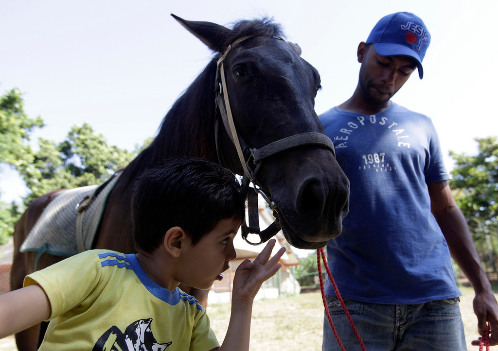 . A student from the Dora Alonso School, which specializes in treating children who suffer from autism spectrum disorders, looks at a horse during an equine-assisted therapy session at the Cuban National Zoo in Havana on May 8, 2013. Students of the Dora Alonso School periodically visit the zoo to learn to interact with different animals as part of their therapy.  REUTERS/Enrique De La Osa