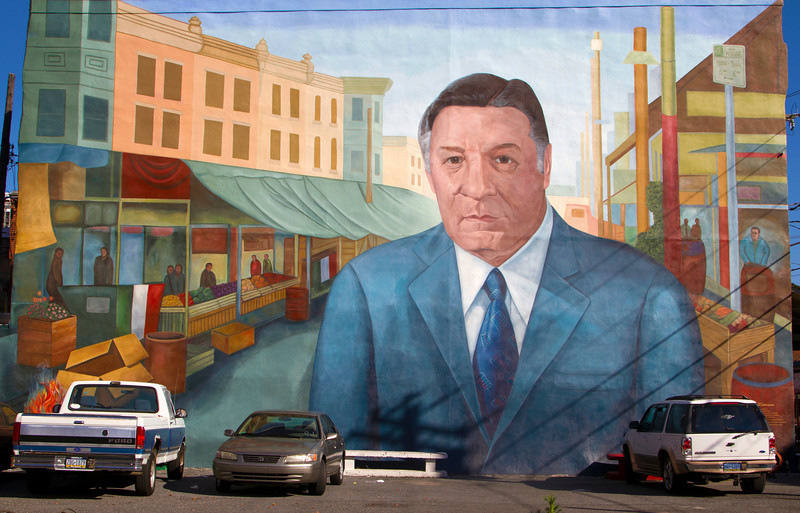 Heroic wall painting of former Philadelphia mayor Frank Rizzo
