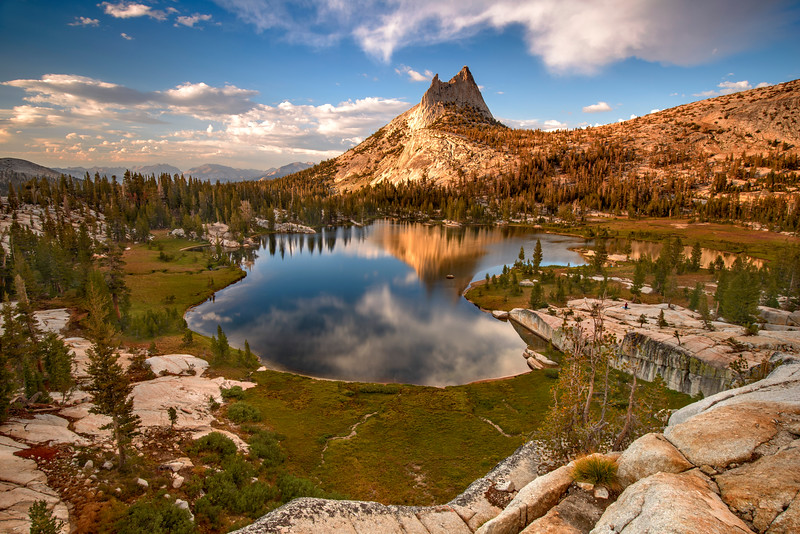 Upper Cathedral Lake and Cathedral Peak at sunset.