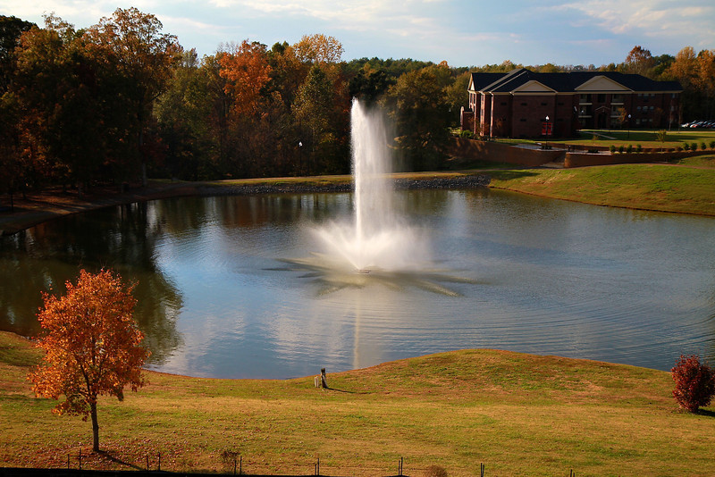 Lake Hollifield as to be seen from the back balcony of the upcoming Tucker Student Center.