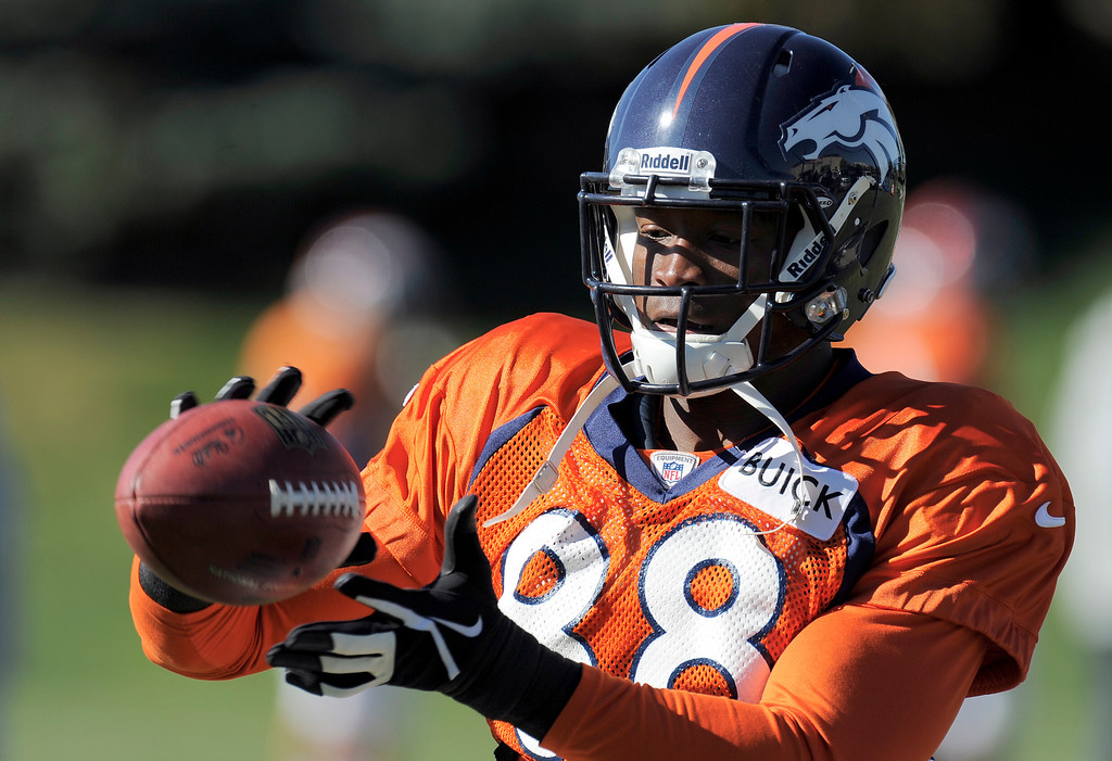 . Denver Broncos wide receiver Demaryius Thomas (88) catches a pass during practice October 23, 2013 at Dove Valley. (Photo by John Leyba/The Denver Post)