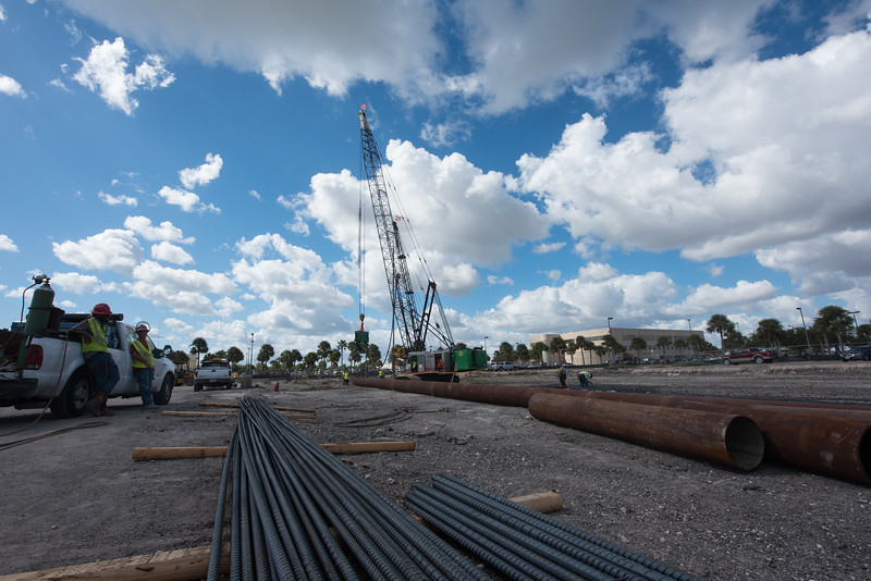 Cronstruction crews begain working on the foundation for Tidal Hall on October 26,2016