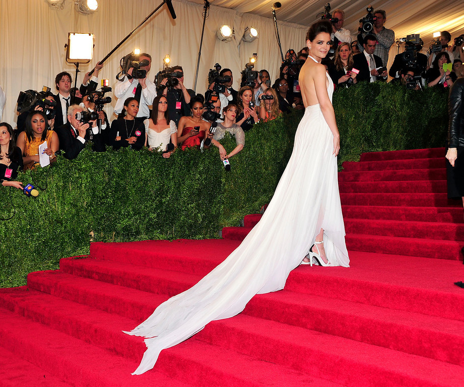 """. Katie Holmes attends The Metropolitan Museum of Art\'s Costume Institute benefit celebrating \""""PUNK: Chaos to Couture\"""" on Monday May 6, 2013 in New York. (Photo by Charles Sykes/Invision/AP)"""