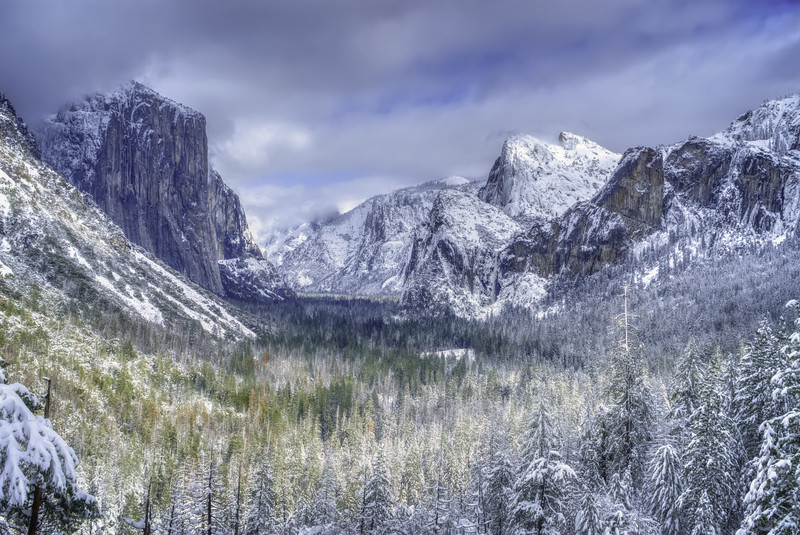 A snow covered Yosemite Valey