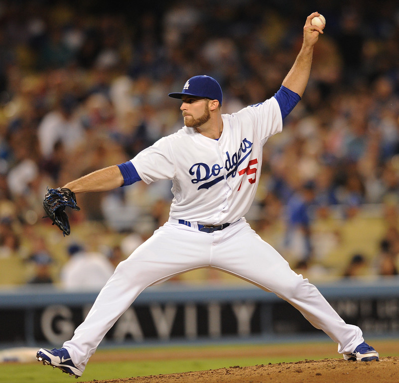 . Paco Rodriguez came in to pitch relief in the 8th inning.  The Dodgers defeated the Arizona Diamondbacks 5-3 after Scott Van Slyke hit a 2 run walk off homer in the 11 inning at Dodger Stadium in Los Angeles, CA. 9/10/2013. photo by (John McCoy/Los Angeles Daily News)