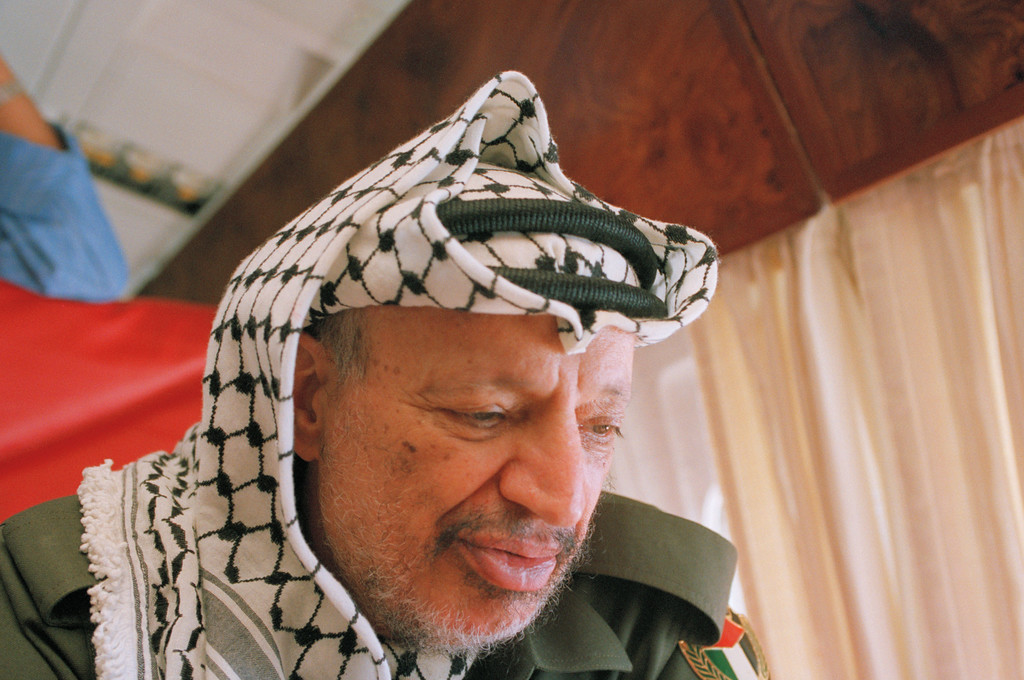 . 1993: The Peacemakers, represented by Yasser Arafat, F. W. de Klerk, Nelson Mandela and Yitzhak Rabin. PLO chairman Yasser Arafat pauses during an interview with the Associated Press on Sunday, Sept. 12, 1993 en route to Andrews Air Force Base, Md., for his first visit to the United States since 1974. Arafat was travelling to Washington to attend Monday\'s White House ceremony for the signing of a peace accord between Israel and the PLO. (AP Photo/Peter Dejong)