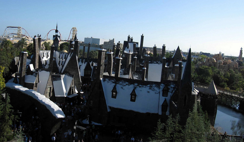 Hogsmeade Village from above at the Wizarding World of Harry Potter, Universal Studios Orlando