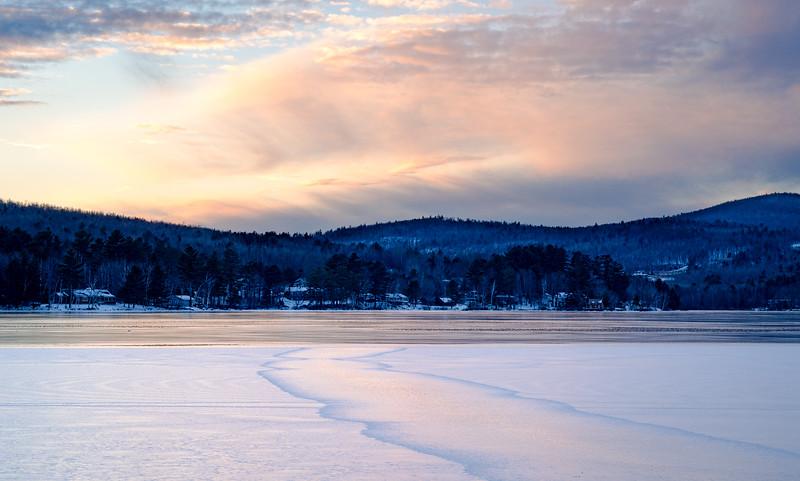 Winter Sunset, Wilson Lake, Wilton, Maine (78091-78092)