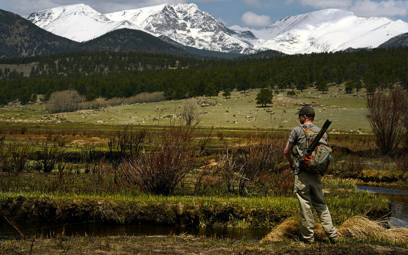. Landon Litt, of Loveland, does some fishing along the headwaters of the Big Thompson in Moraine Park inside Rocky Mountain Park on May 13, 2013.  This area was completely burned during the Fern Lake Fire.   (Photo by Helen H. Richardson/The Denver Post)