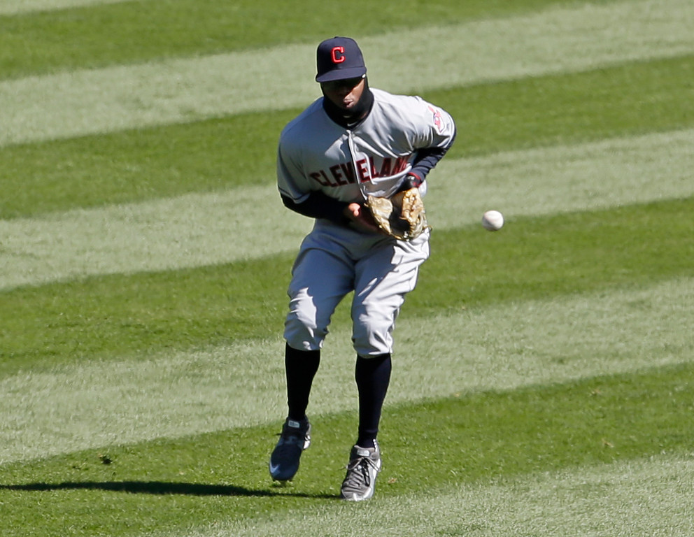 . Cleveland Indians center field Rajai Davis can\'t make the catch on a single hit by Chicago White Sox\'s Alex Avila during the fourth inning of a baseball game Saturday, April 9, 2016, in Chicago. (AP Photo/Nam Y. Huh)