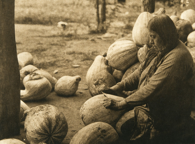 Peeling pumpkins - Wichita (The North American Indian, v. XIX. Norwood, MA, The Plimpton Press,  1930)