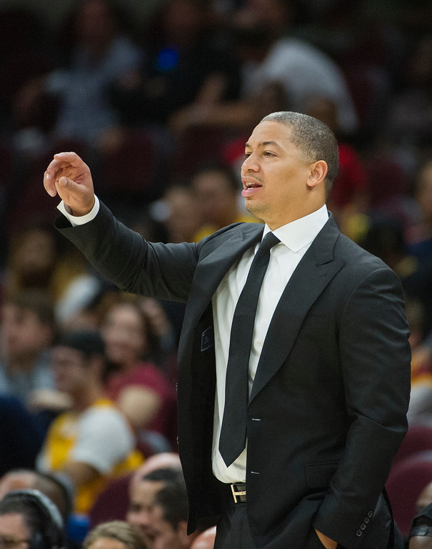 . Cleveland Cavaliers head coach Tyronn Lue directs his team during the second half of an NBA pre-season basketball game against the Atlanta Hawks in Cleveland, Wednesday, Oct. 4, 2017. (AP Photo/Phil Long)