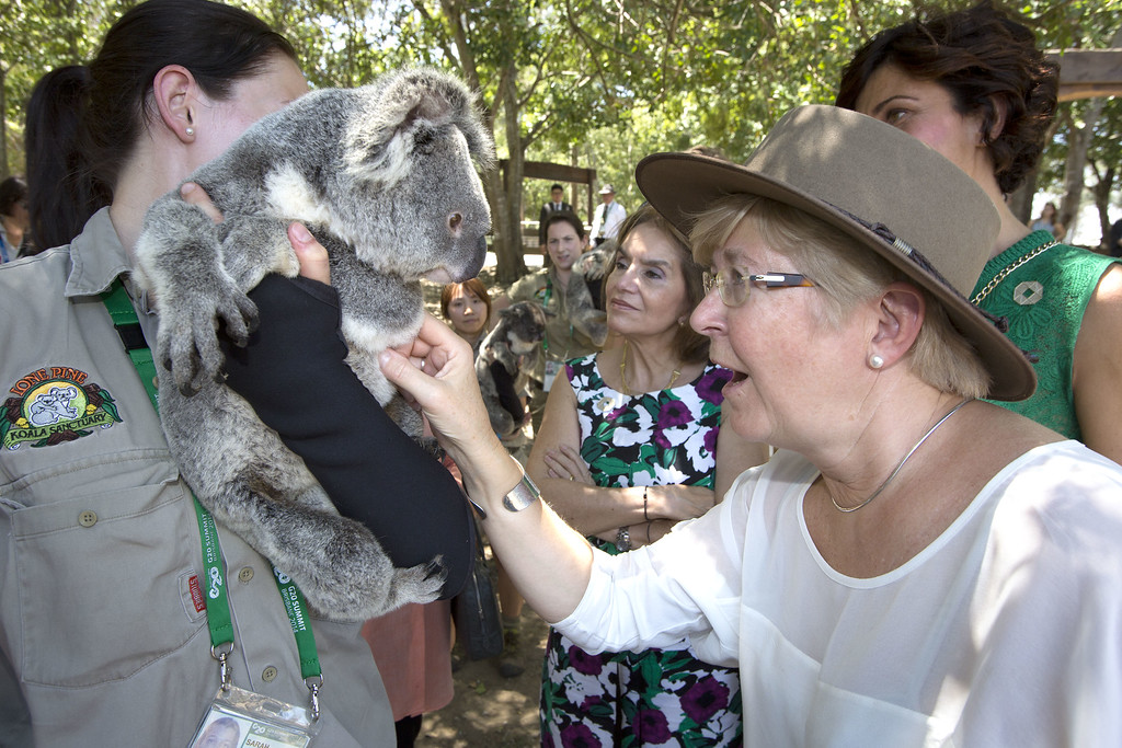 . BRISBANE, AUSTRALIA - NOVEMBER 15:  Madam Geertrui Van Rompuy with a koala at the Lone Pine Koala Sanctuary, as part of the G20 Leaders\' Spouse programme on November 15, 2014 in Brisbane, Australia. World leaders have gathered in Brisbane for the annual G20 Summit and are expected to discuss economic growth, free trade and climate change as well as pressing issues including the situation in Ukraine and the Ebola crisis.  (Photo by Penny Bradfield/G20 Australia via Getty Images)