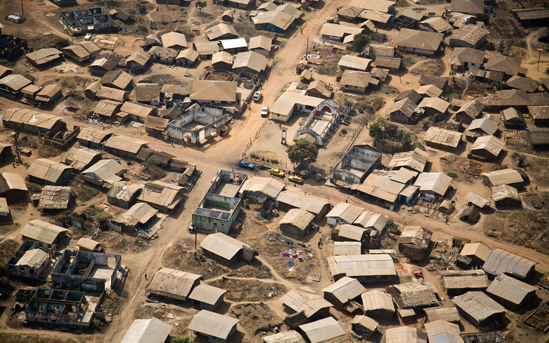Aerial view of Liberian town