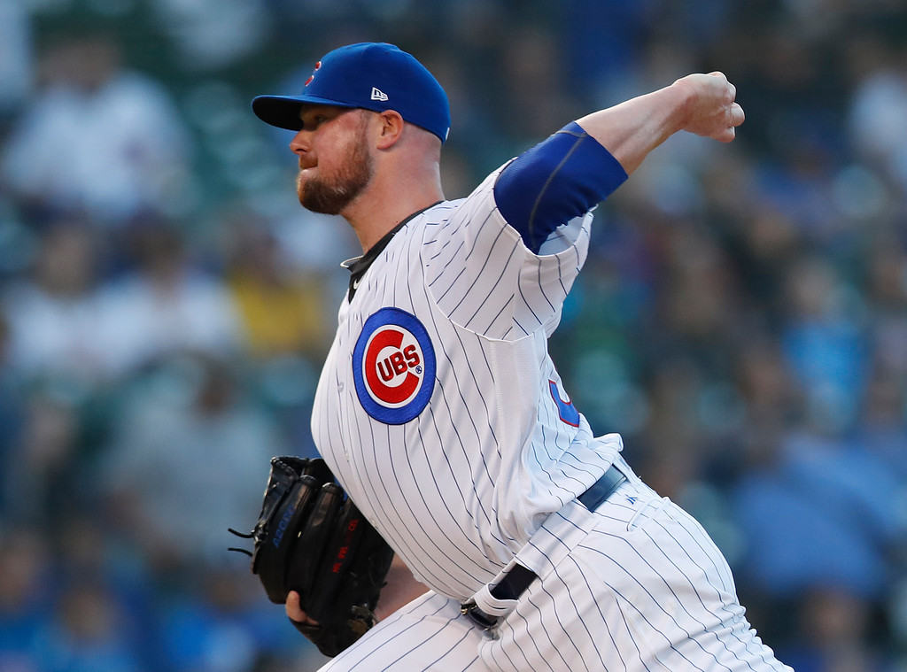. Chicago Cubs\' Jon Lester pitches during the first inning of the team\'s baseball game against the Cleveland Indians on Wednesday, May 23, 2018, in Chicago. (AP Photo/Jim Young)