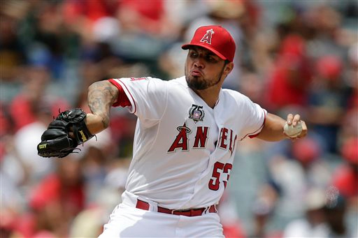 . Los Angeles Angels starting pitcher Hector Santiago throws against the Detroit Tigers during the second inning of a baseball game on Sunday, July 27, 2014, in Anaheim, Calif. (AP Photo/Jae C. Hong)