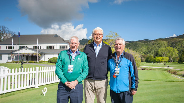 John Hopkins (Chairman of Australia  Golf), with K J Lee (General Secretary of the APGC) and Iain Valentine (Starter) on Practise Day 1 of the Asia-Pacific Amateur Championship tournament 2017 held at Royal Wellington Golf Club, in Heretaunga, Upper Hutt, New Zealand from 26 - 29 October 2017. Copyright John Mathews 2017.   www.megasportmedia.co.nz