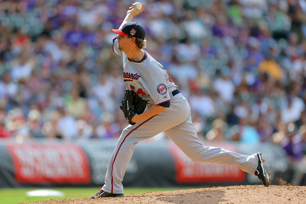 . Relief pitcher Matt Guerrier #54 of the Minnesota Twins delivers to home plate during the seventh inning against the Colorado Rockies at Coors Field on July 13, 2014 in Denver, Colorado.  (Photo by Justin Edmonds/Getty Images)