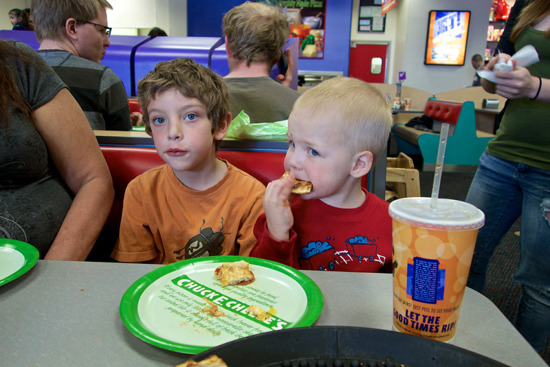 Birthday Party frenzy at Chuck E. Cheese's.