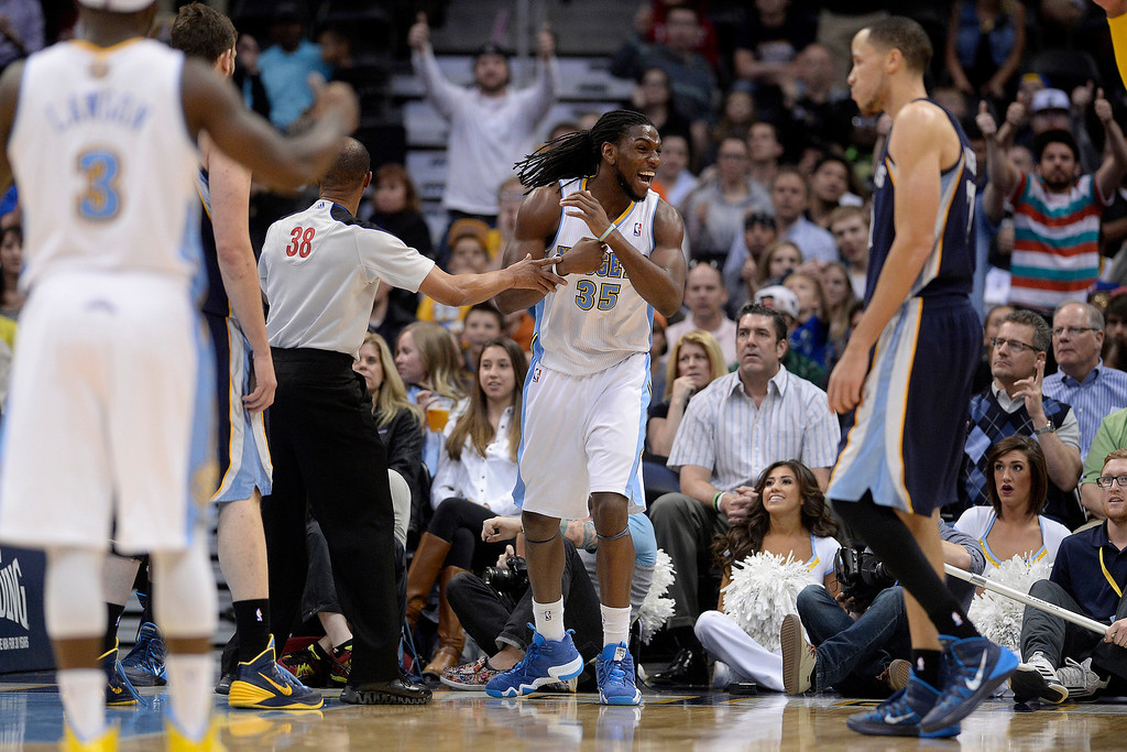 . Denver Nuggets forward Kenneth Faried (35) reacts to drawing a jump ball late against the Memphis Grizzlies  during the fourth quarter of the Grizzlies\' 94-92 win. (Photo by AAron Ontiveroz/The Denver Post)