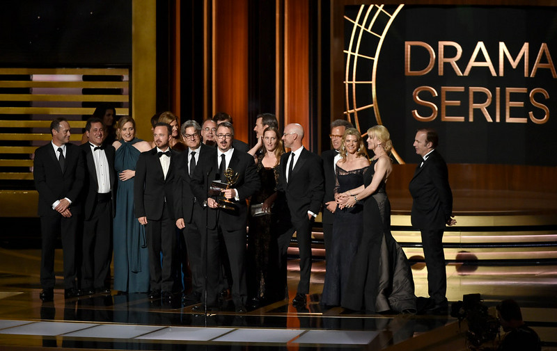 . Show creator Vince Gilligan (C) with cast and crew accept Outstanding Drama Series for \'Breaking Bad\' onstage at the 66th Annual Primetime Emmy Awards held at Nokia Theatre L.A. Live on August 25, 2014 in Los Angeles, California.  (Photo by Kevin Winter/Getty Images)