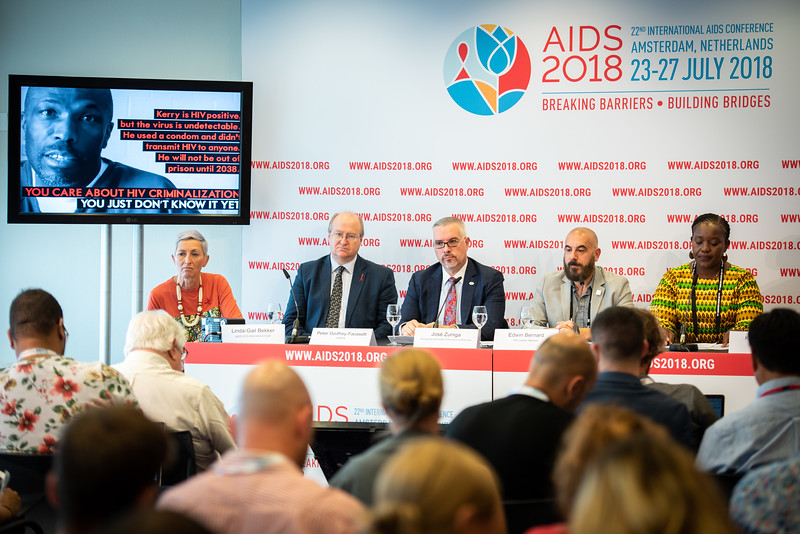 22nd International AIDS Conference (AIDS 2018) Amsterdam, Netherlands.   Copyright: Steve Forrest/Workers' Photos/ IAS  Photo shows: The Criminalization of HIV JIAS Press Conference. From Left to Right: Linda-Gail Bekker (Chair), Peter Godfrey-Faussett, Senior Adviser, Science, UNAIDS, (United Kingdom); José Zuniga, International Association of Providers of AIDS Care; Edwin Bernard HIV Justice Network; Sarai-Chisala Tempelhoff, Women Lawyers Association, Malawi.
