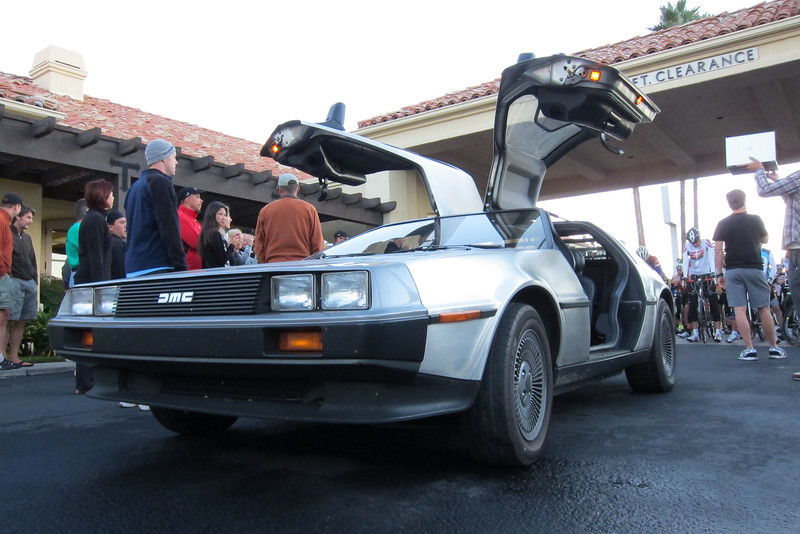 """Chris Kostman's """"Back to the Future"""" theme pace car."""