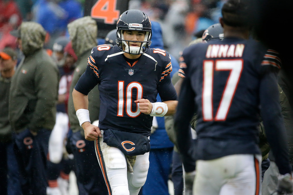 . Chicago Bears quarterback Mitchell Trubisky (10) runs to the locker room after the first half of an NFL football game against the Green Bay Packers, Sunday, Nov. 12, 2017, in Chicago. (AP Photo/Nam Y. Huh)