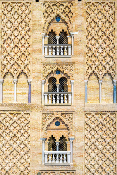 Detail from the south side of the Giralda Tower, Seville, Spain.