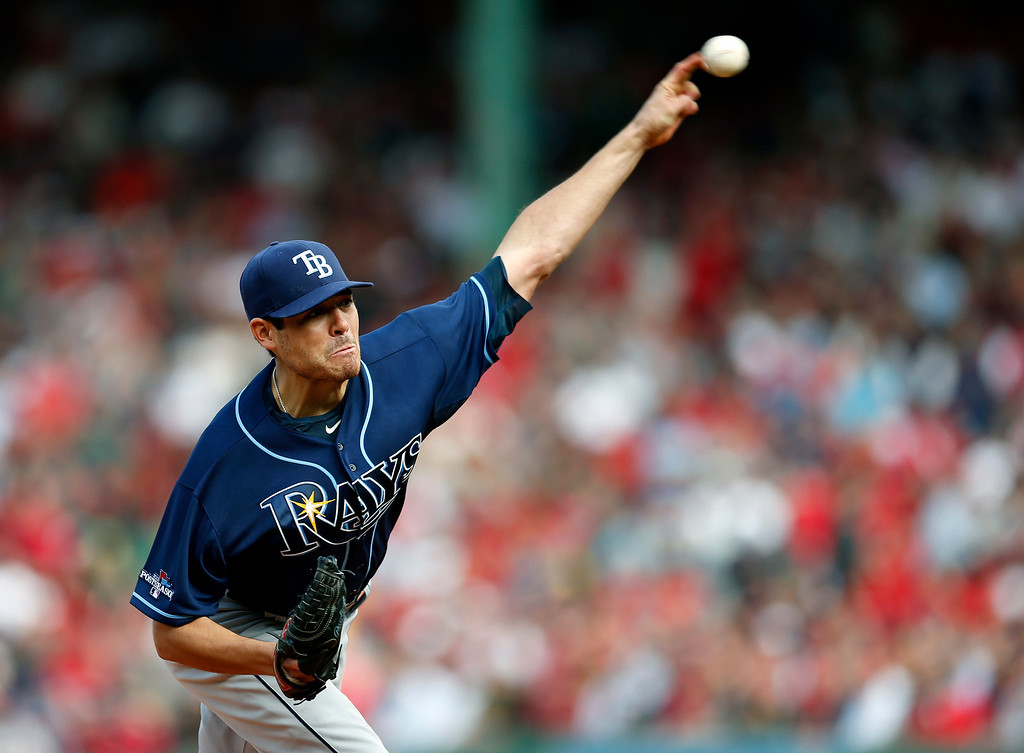 . Tampa Bay Rays starting pitcher Matt Moore delivers in the first inning in Game 1 of baseball\'s American League division series against the Boston Red Sox, Friday, Oct. 4, 2013, in Boston. (AP Photo/Michael Dwyer)