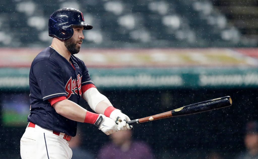 . Cleveland Indians\' Jason Kipnis reacts after striking out against Chicago Cubs relief pitcher Luke Farrell in the ninth inning of a baseball game, Tuesday, April 24, 2018, in Cleveland. The Cubs won 10-3. (AP Photo/Tony Dejak)