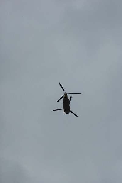 A Chinook flew overhead while we were walking within the park. Cool!