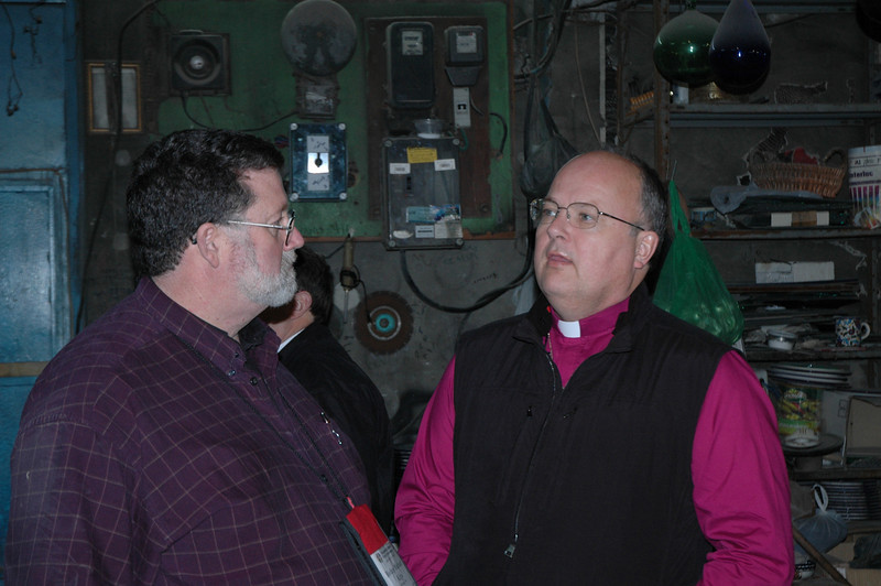 Bishop Michael Keys, left, ELCA Alaska Synod, and Bishop James Justman, ELCA East-Central Synod of Wisconsin, visited a glass factory in Hebron with other bishops Jan. 10.