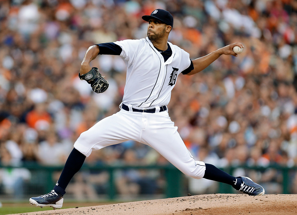 . Detroit Tigers pitcher David Price throws against the New York Yankees in the first inning of a baseball game in Detroit, Wednesday, Aug. 27, 2014. (AP Photo/Paul Sancya)