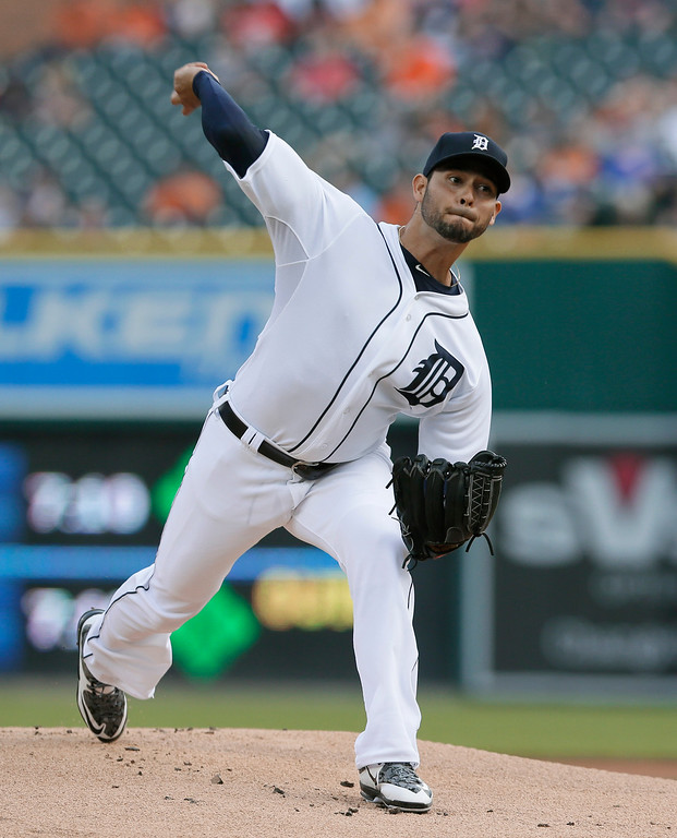 . Detroit Tigers starting pitcher Anibal Sanchez throws during the first inning of a baseball game against the Chicago Cubs, Tuesday, June 9, 2015, in Detroit. (AP Photo/Carlos Osorio)