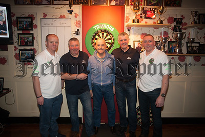 """Trainors Bar Camlough hosted a Charity Darts Tournamnet on Saturday last """"All in for Marty"""". Pictured are Liam Bradley, Brendan McCabe, Marty McComb, Tucker McCabe and Justin McKevitt. RS1605014"""