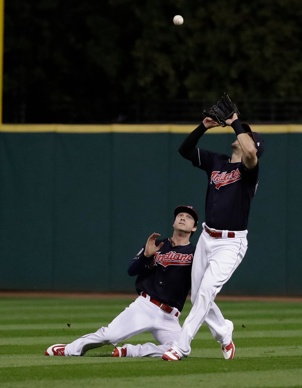 . Better defense in the outfield >> Tyler Naquin is still a work in progress as a center fielder. The fly ball that dropped between Naquin and right fielder Lonnie Chisenhall in Game 6 of the World Series was one of the low points of the postseason. Brantley in the lineup as the everyday left fielder will make the defense better.   (AP Photo/David J. Phillip)