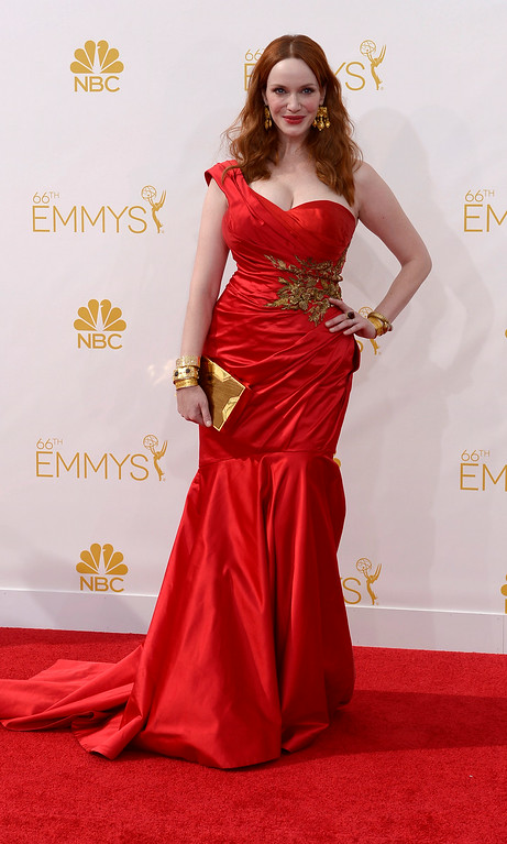 . Christina Hendricks on the red carpet at the 66th Primetime Emmy Awards show at the Nokia Theatre in Los Angeles, California on Monday August 25, 2014. (Photo by John McCoy / Los Angeles Daily News)