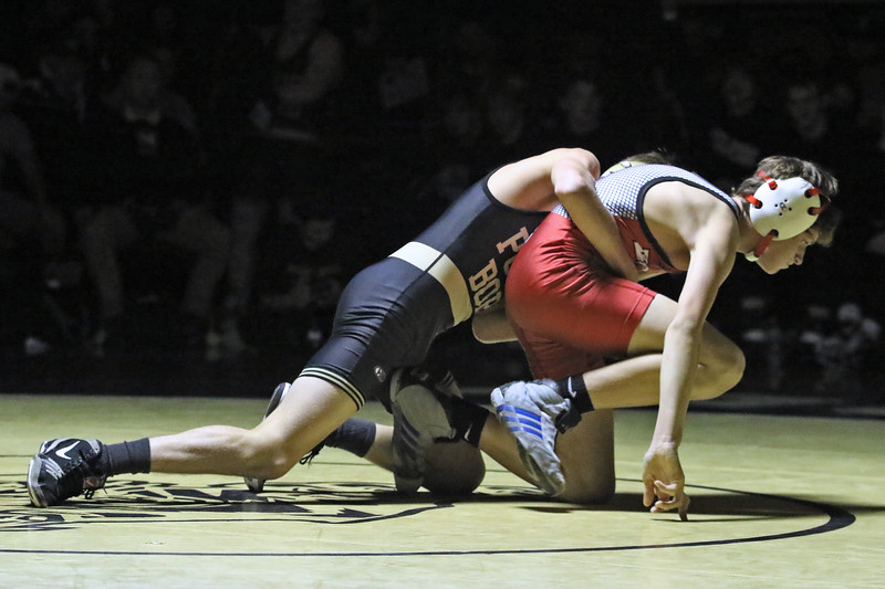 Charlie Latendorf from Point Pleasant Boro battles with Michael Storino during their 106 lb bout during a varsity wrestling match held at Point Pleasant Boro on Friday Jan. 18, 2019. (MARK R. SULLIVAN/THE OCEAN STAR)