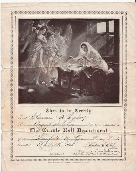 Claradean Wynkoop - Cradle Roll Dept. - April 4, 1920.jpg