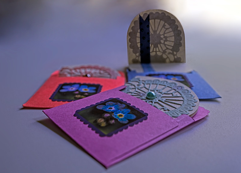 Mini note cards, hand made.
