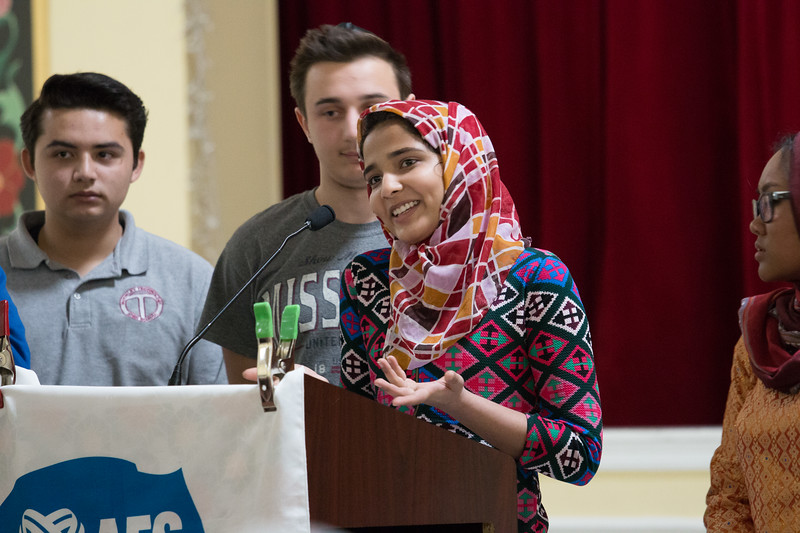 The Muslim students leading this evening's event are AFS exchange students at various DC-area high schools. -- Beth El 8th grade Upper School students visited the Islamic Center mosque in Rockville, Feb 21, 2017